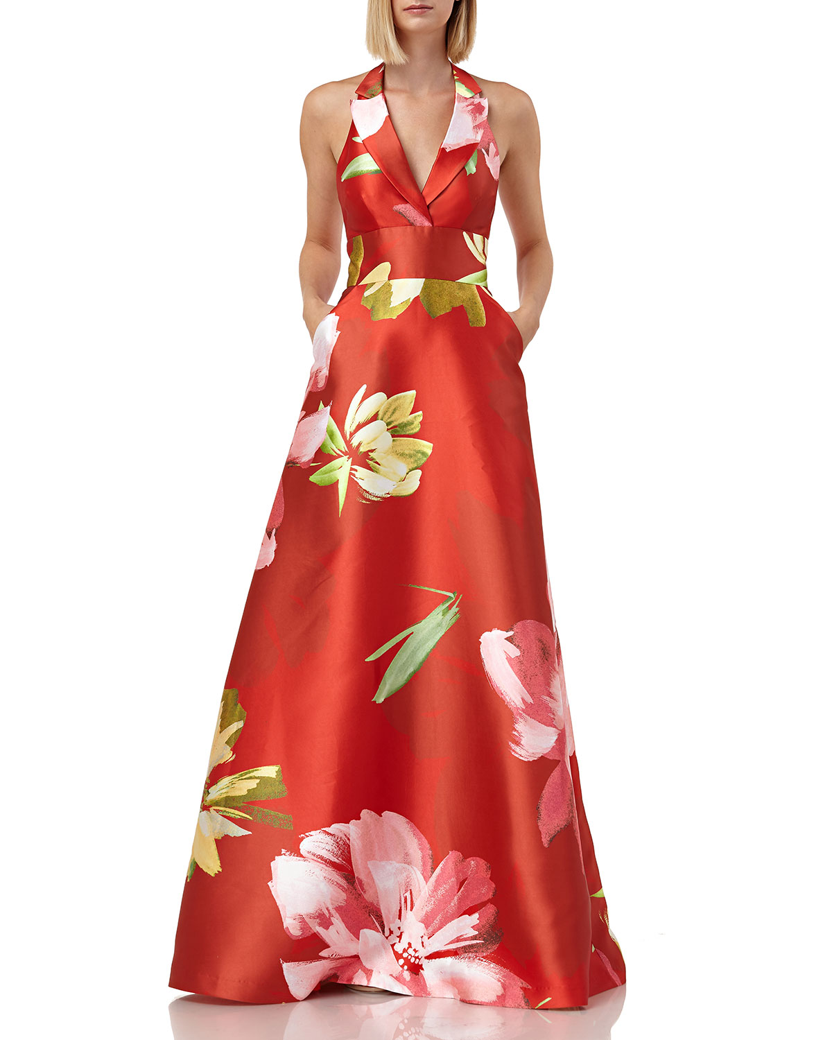 Kay Unger Tops FLORAL-PRINTED MIKADO HALTER GOWN WITH POCKETS