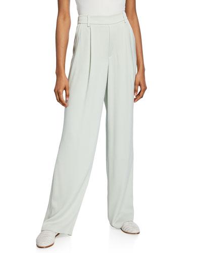 Wide-Leg Pleated Pull-On Pants