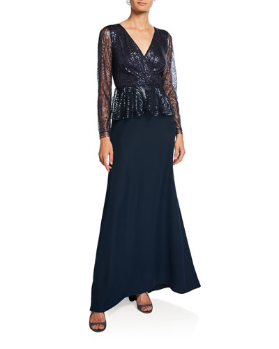 Long-Sleeve Sequin Peplum Gown with Crepe Skirt
