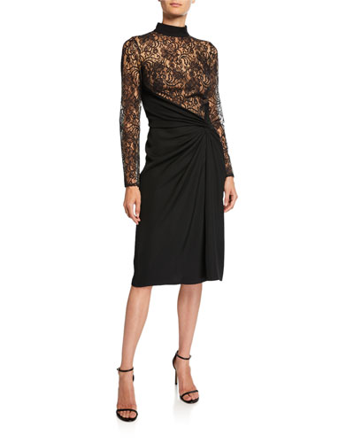 Mock-Neck Long-Sleeve Dress w/ Lace Bodice & Ruched Crepe Skirt