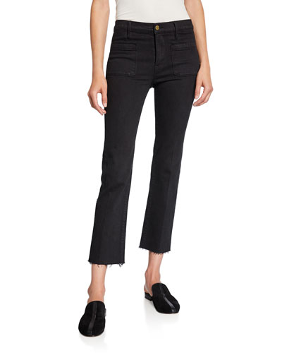 Le Bardot Straight Raw-Edge Jeans