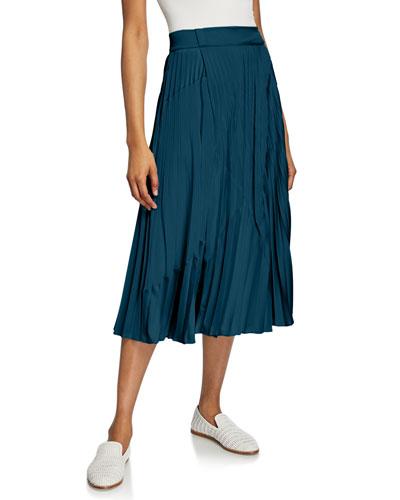 Mixed-Media Pleated Midi Skirt