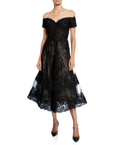 Off-the-Shoulder Sweetheart Short-Sleeve Lace Overlay Illusion Dress