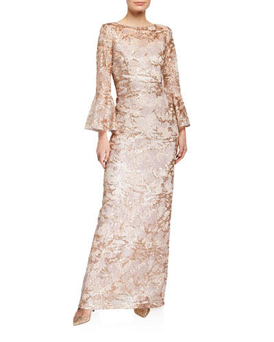 Sequin Lace Trumpet-Sleeve Gown