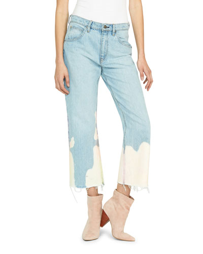 Sloane Mid-Rise Bleached Straight Crop Jeans