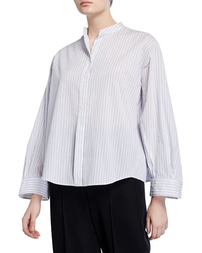 Pleated Button-Down Striped Shirt