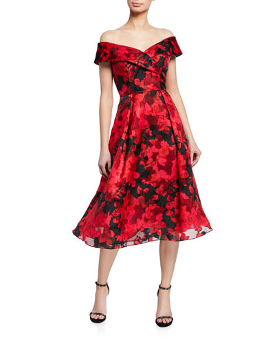 Floral Burnout Organza Off-The-Shoulder Midi Dress