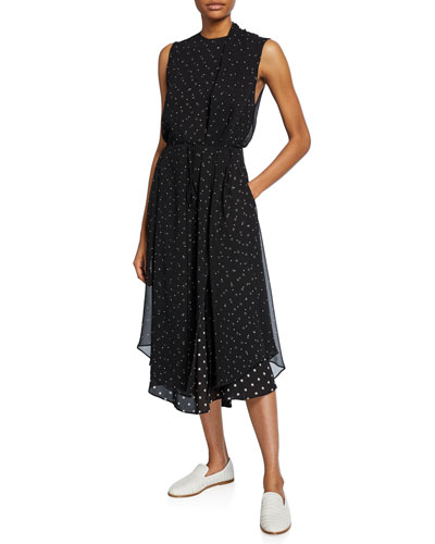 Mixed-Media Dot-Print Sleeveless Midi Dress