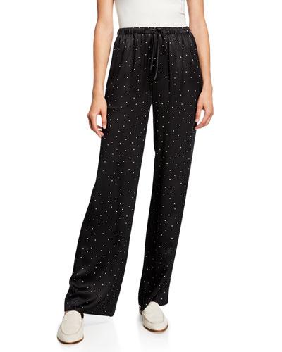 Dot-Print Silk Pajama Pants
