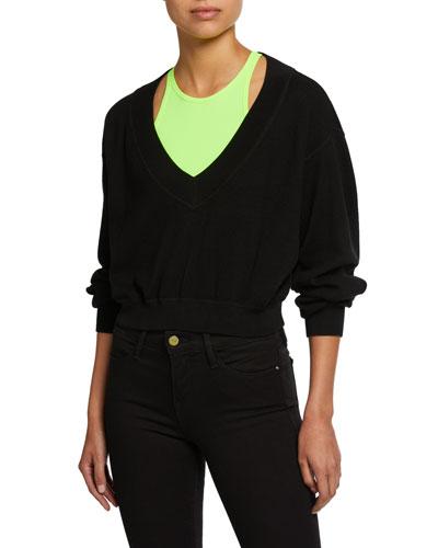 Bi-Layer Cropped Sweater Top