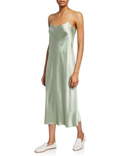Scoop-Neck Midi Satin Slip Dress