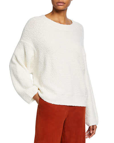 Crewneck Textured Boucle Sweater
