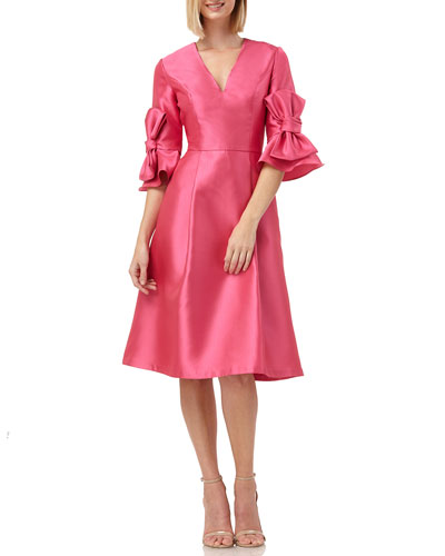 V-Neck Elbow-Sleeve Mikado Fit-&-Flare Dress with 3D Bows