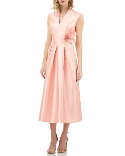 V-Neck Sleeveless Midi Dress w/ Front Pleats & Flower Detail