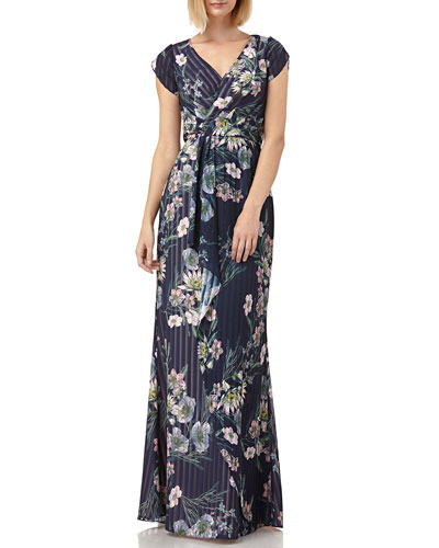 Floral-Print Striped Chiffon Tulip-Sleeve Blouson Gown