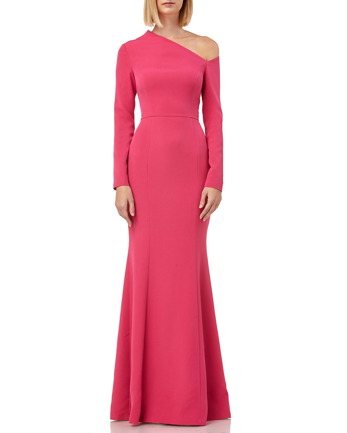 e51b9323b2 Boat-Neck 3 4-Sleeve Column Gown with Side Slit. Kay Unger New York ...