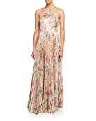 Marchesa Notte Floral Lame Halter Gown with Pleated
