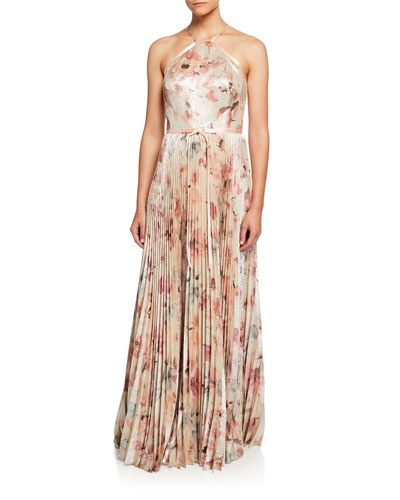 Floral Lame Halter Gown with Pleated Skirt