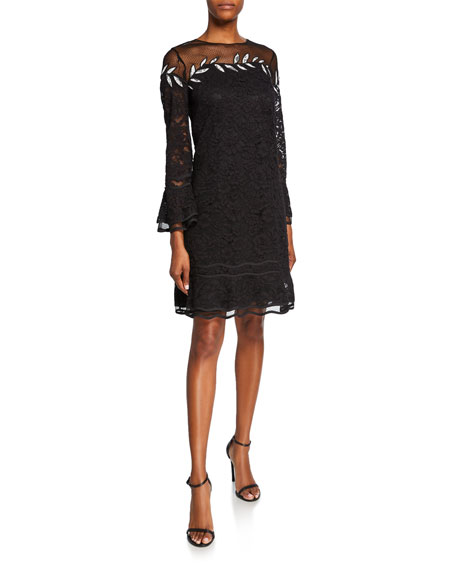 Shani Crewneck Bell-Sleeve Floral Lace Dress with Embroidery Detail