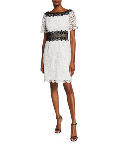 cff66fe912b265 Quick Look. Shani · Colorblock Bateau-Neck Short-Sleeve Floral Lace Dress