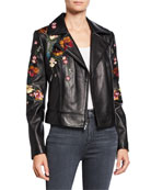 Neiman Marcus Leather Collection Floral Embroidered Leather Moto