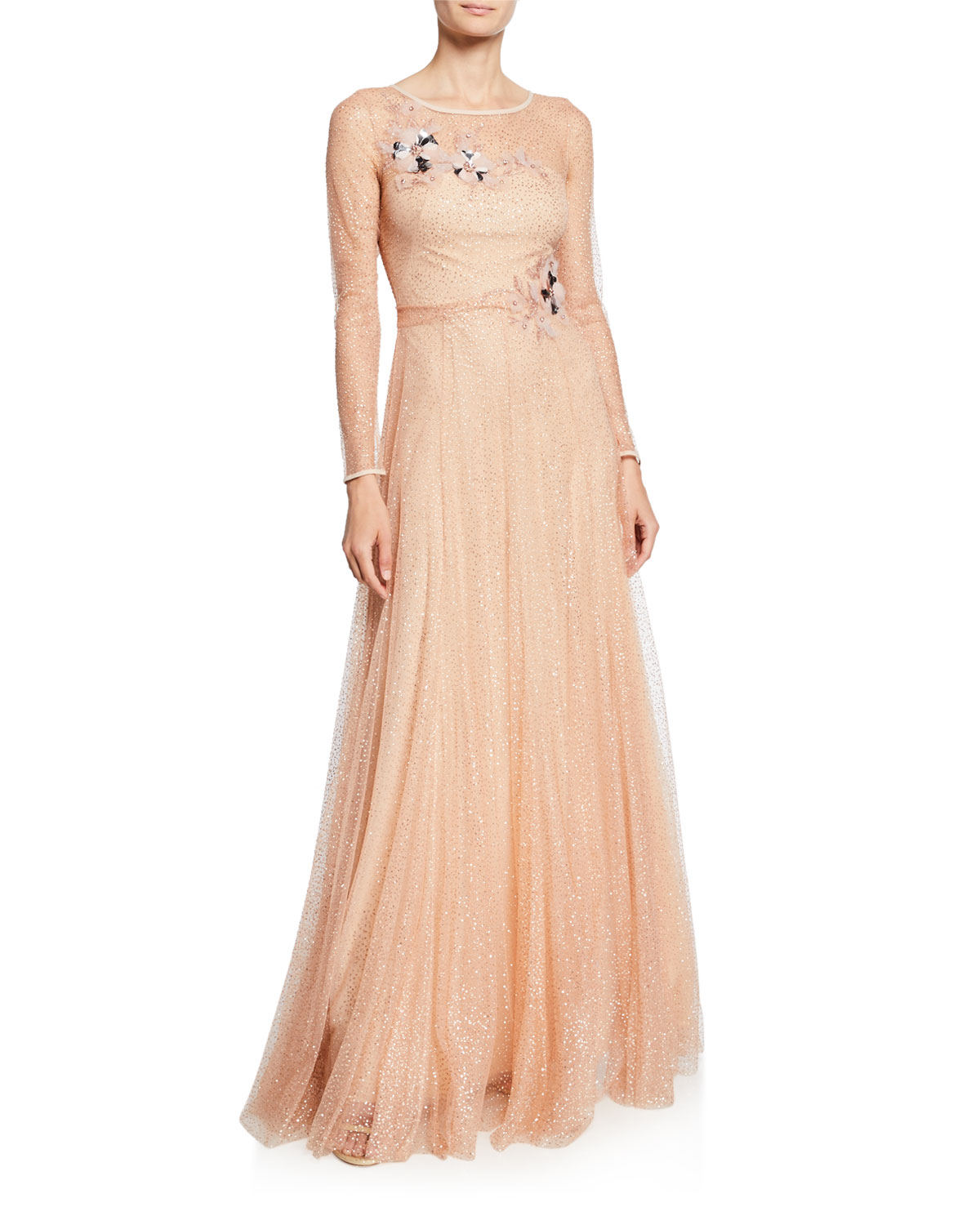 Marchesa Notte Tops LONG-SLEEVE GLITTER TULLE GOWN WITH BEADED FLORAL APPLIQUES & BOW