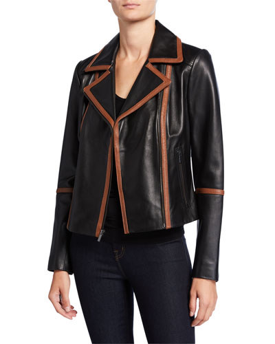 Contrast Binding Leather Moto Jacket