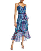 Marchesa Notte Colorblock Floral Organza Sleeveless High-Low