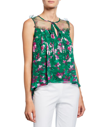 Floral Printed Burnout Chiffon Sleeveless Blouse with Front Tie