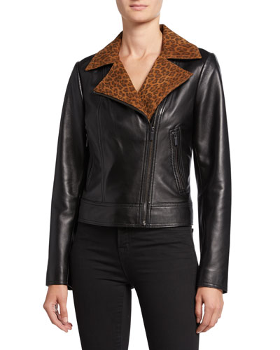 Lambskin Leather Moto Jacket with Leopard-Print Collar