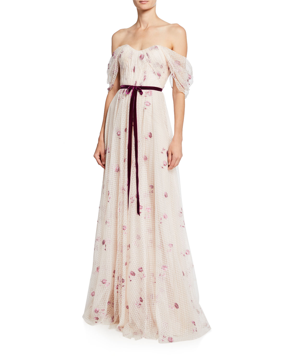 Marchesa Notte Tops OFF-THE-SHOULDER DRAPED BODICE NETTED TULLE GOWN WITH EMBROIDERY