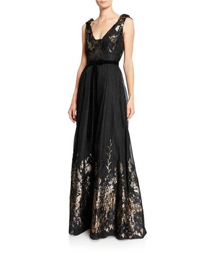 V-Neck Sleeveless Metallic Fils Coupe Gown w/ Shoulder Detailing