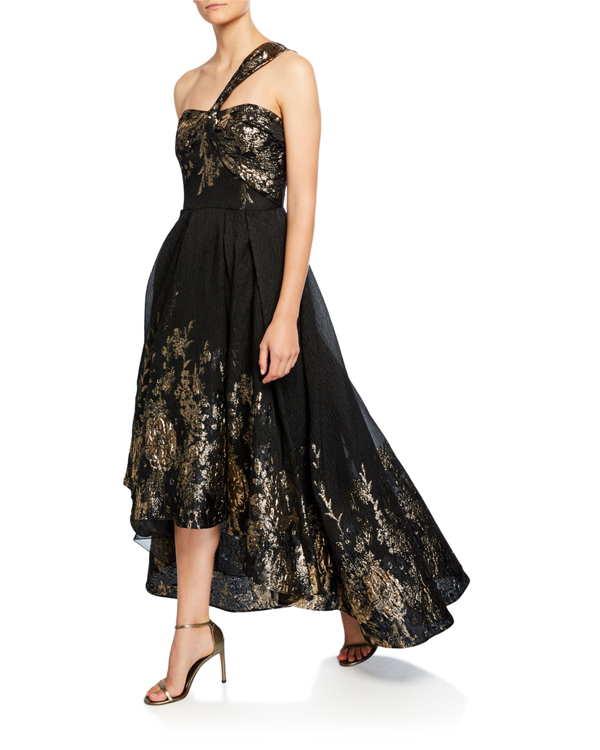 Marchesa Notte Tops DRAPED ONE-SHOULDER HIGH-LOW METALLIC FIL COUPE GOWN