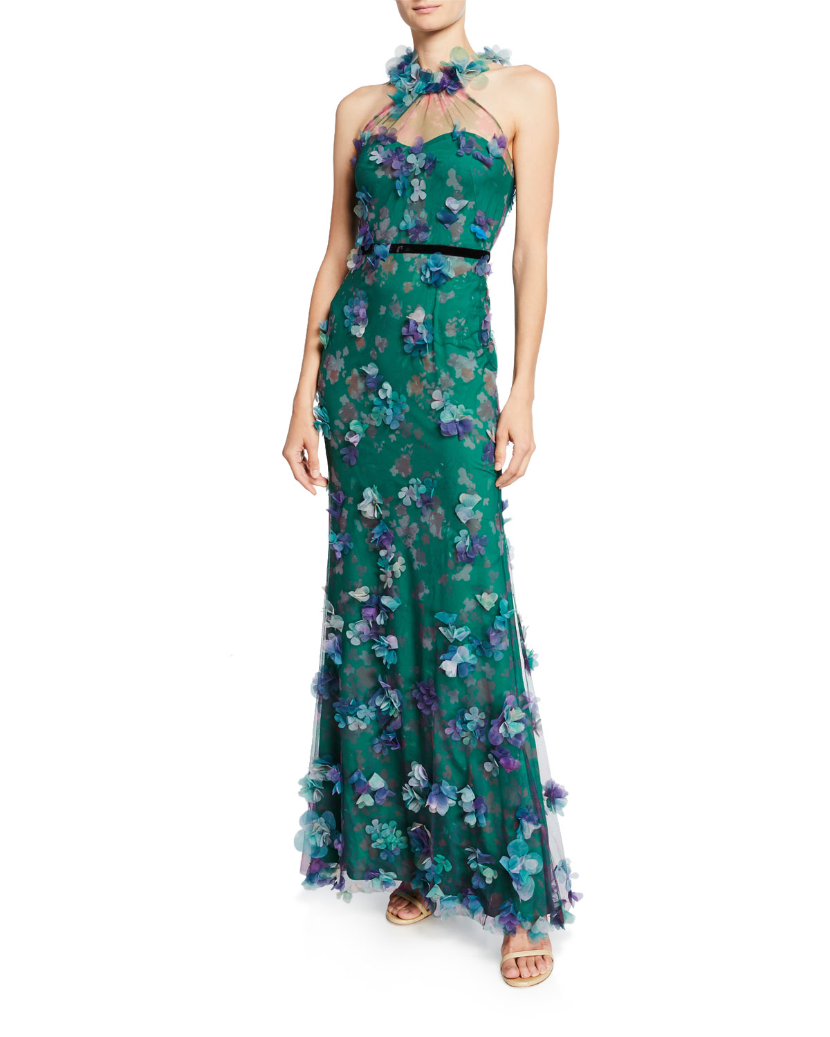 Marchesa Notte Tops PRINTED TULLE ILLUSION HALTER GOWN WITH 3D FLOWER DEGRADE