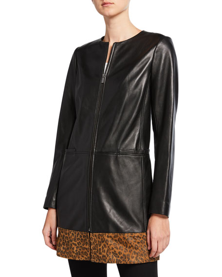 Neiman Marcus Leather Collection Plus Size Leopard-Print Block Topper Jacket