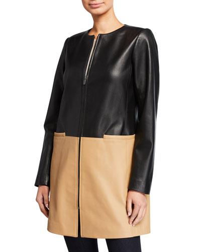 Plus Size Zip-Front Colorblock Topper Jacket