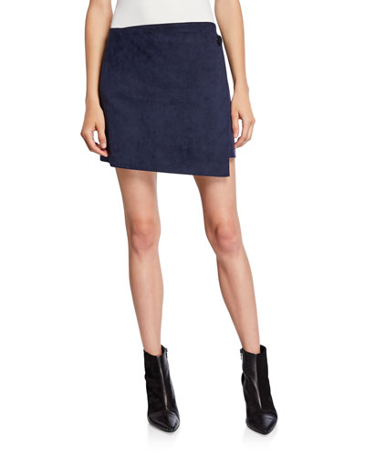 816a81c705 Quick Look. Theory · Faux-Suede Short Wrap Skirt