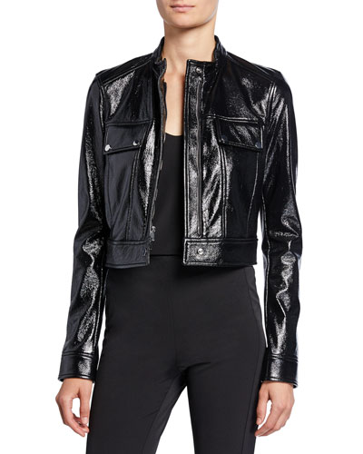 Cropped Patent Faux-Leather Biker Jacket