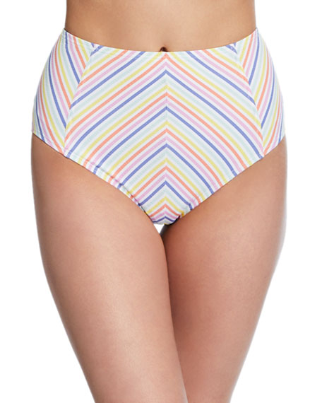 kate spade new york high-waist striped bikini bottom