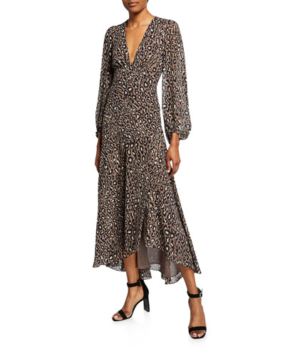 7848132b9a9 Quick Look. Shona Joy · Buell Plunged Animal-Print Long-Sleeve ...