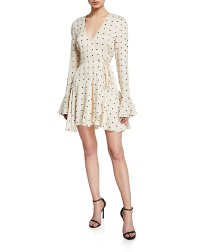 Odell Polka-Dot Long-Sleeve Frill Cuff Mini Wrap Dress