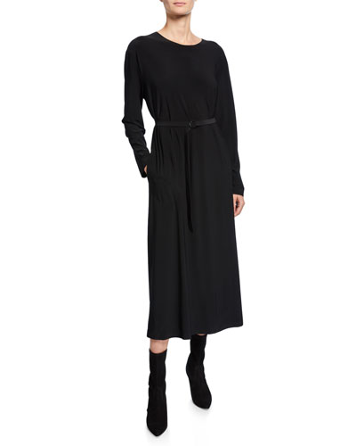 Boyfriend Crewneck Long-Sleeve Mid-Calf Dress