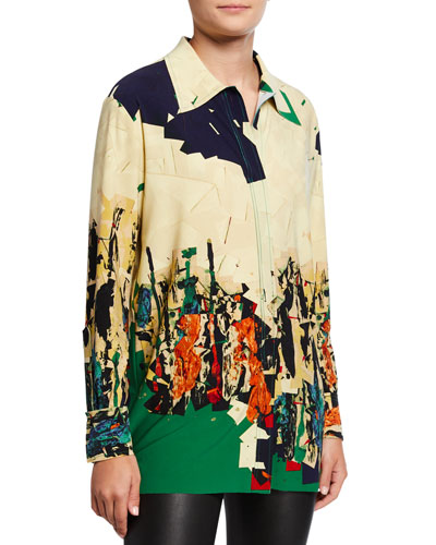 Abstract Print Long-Sleeve Boyfriend Shirt