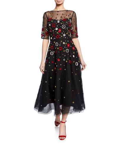 Beaded 3D Floral Embroidered Midi Tulle Dress