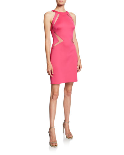 Cutout Neoprene Halter Dress