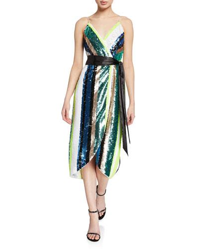 Sequin Stripe Sleeveless Midi Wrap Dress