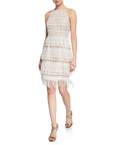 Lace & Fringe Halter Cocktail Dress
