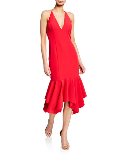 Low-Back Plunging Halter-Neck Crepe Midi Flounce Dress