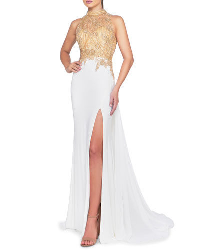 Beaded Illusion High-Neck Sleeveless Gown with Thigh Slit