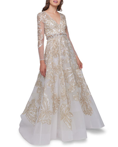 Embellished V-Neck Illusion Long-Sleeve Gown w/ Beaded Waist